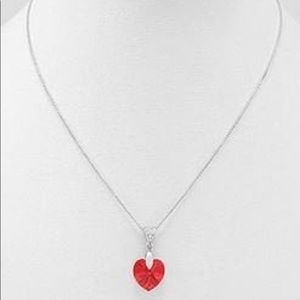 Silver Heart Necklace with CZ and Swarovski